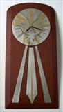 SUN CLOCK by Melanie Guy, Metal, pewter, Honduras mahogany, metal powders